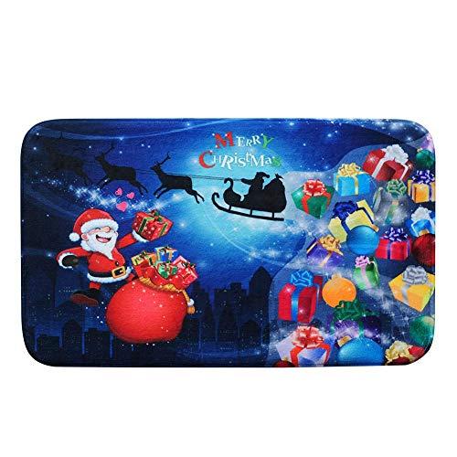 Ahomi Alfombra de baño Antideslizante Feliz Navidad Santa Claus Felpudo de Franela para Puerta de casa, 3