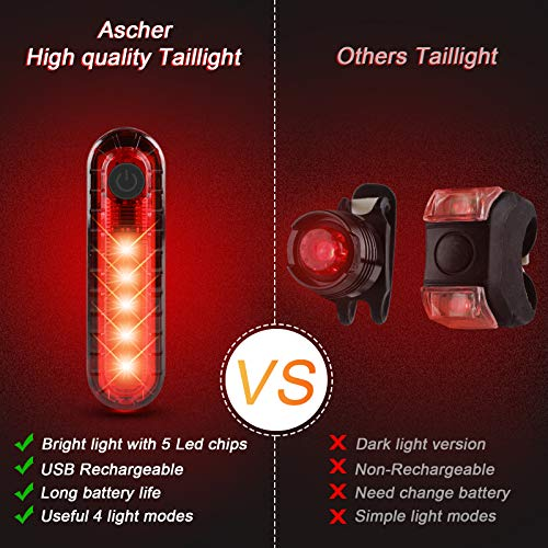 Ascher Ultra Bright USB Rechargeable Bike Light Set, Powerful Bicycle Front Headlight and Back Taillight, 4 Light Modes, Easy to Install for Men Wo   men Kids Road Mountain Cycling