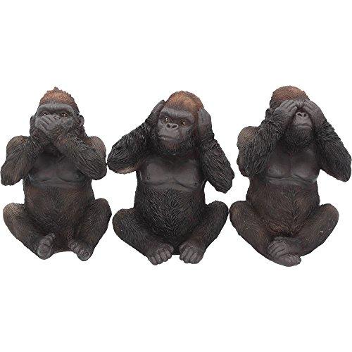 Nemesis Now 3 Figurines de gorilles, Les 3 sages, 34 cm, Noir