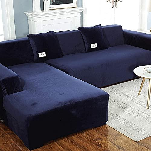 Silla Fundas de sofá de Terciopelo seccional, 2 Piezas Fundas de sofá en Forma de L, Antideslizante elástico Protector de Muebles fácil de Usar Abrigo de sofá en Forma de L Azul 4 + 4 Asientos (92 '