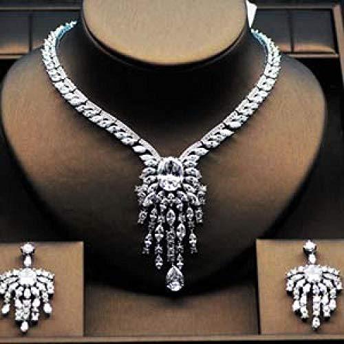 AMINIY Forma De Flor Forma De Flor Set De Joyería Nupcial Conjunto De Collar De Diamantes De Imitación Amarillo para Regalos Femeninos (Color : Platinum Plated, Size : 45cm)