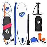 COSTWAY SUP Board, Stand up Board aufblasbar, Stand up Paddling Board, Stand up Paddel Board, Paddelboard, inkl. Rucksack, Pumpe, Reparaturset, Paddel und Center Finne -