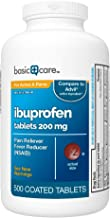 Basic Care Ibuprofen Tablets 200 mg, Pain Reliever/Fever Reducer (NSAID), 500 Count