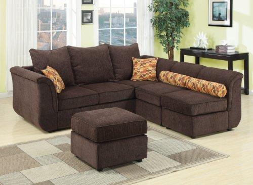 Big Sale Acme 15230 Caisy Chenille Fabric Sectional Sofa Set, Chocolate Finish