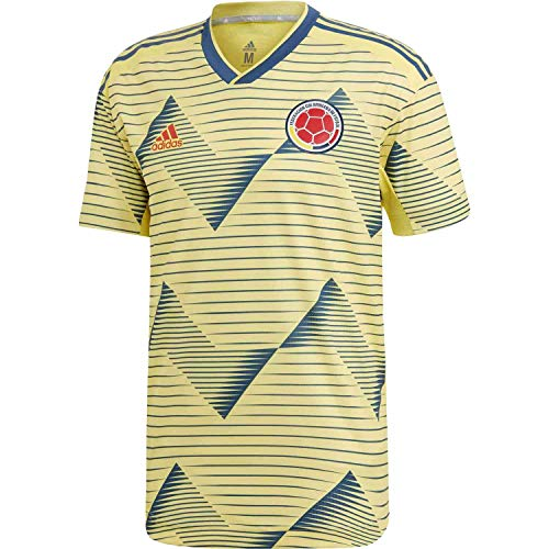 adidas Men's Colombia Home Authentic Jersey 2019-LIGHT Yellow/Night Marine (M)