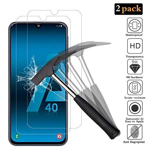 ANEWSIR Protector de Pantalla para Samsung Galaxy A40,[2 Pack] Cristal Templado Samsung Galaxy A40 [9H Dureza] [Alta Definicion]