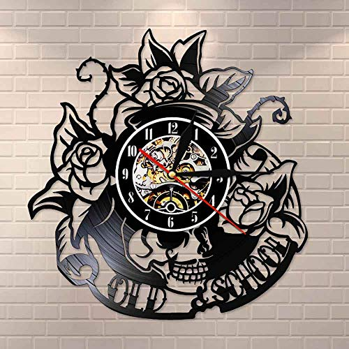 UIOLK Tatuaje Calavera con Disco de Vinilo Rosa Reloj de Pared Esqueleto Calavera Espina Rosa Reloj de Pared de Cuarzo silencioso gótico decoración de la Pared del Arte del hogar