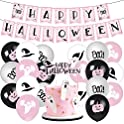 Pink Halloween Party Decorations: Banner, Balloons & Ghost Cake Topper