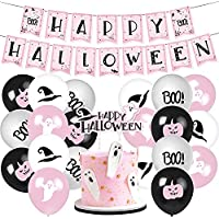 Cocomigo Pink Halloween Party Decorations: Banner, Balloons & Ghost Cake Topper