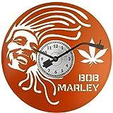 EVEVO Bob Marley Reloj de Pared Naranja Vinilo Disco Retro Reloj Grande Relojes Style Espacio Home Decoraciones Estupendo Regalo Reloj Bob Marley