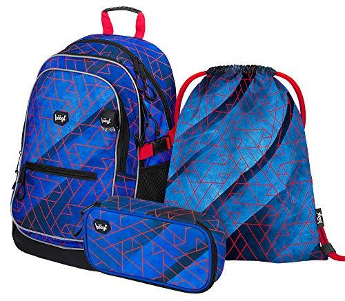 Schulrucksack Set Jungen 3 Teilig, Schultasche ab 3. Klasse, Grundschule Ranzen mit Brustgurt, Ergonomischer Schulranzen (Trigo)