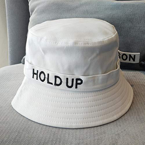 Sombrero de Verano de Corea Mujeres a lo Largo de Grandes Letras Salvaje Masculino Sombrero del Casquillo del Lavabo Japonesa Visera de Corea ACDES (Color : White, Size : Adjustable)