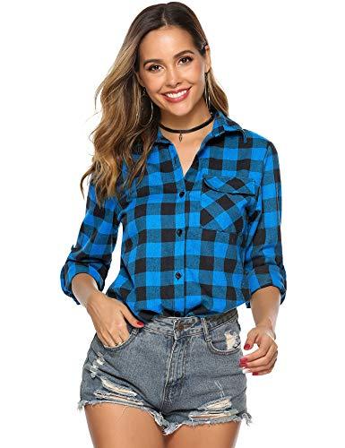 Hawiton Damska koszula w kratkę z długim rękawem guzik w kratę flanelowe koszule na co dzień chłopak bluzka topy z kieszeniami