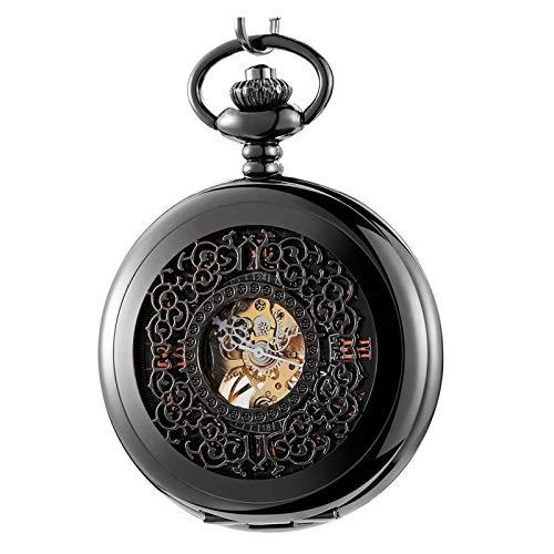 Moda retro Steampunk Hollow Watch Mecánico reloj de bolsillo de bobinado a mano antiguo Oro negro FOB Cadena colgantes colgantes Regalo para el cumpleaños del día del padre ( Color : Black )