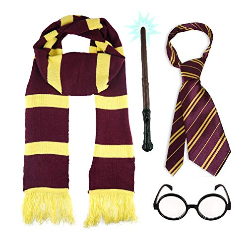 SCHOOL BOY WIZARD 4 PIECE SET. Long Scarf + Tie + Miraculous Magic Wand + Glasses by Paper Umbrella Facny Dress