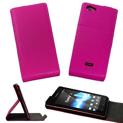 caseroxx Flip Cover für Sony Xperia J ST26i, Bolso (Flip Cover en Pink)