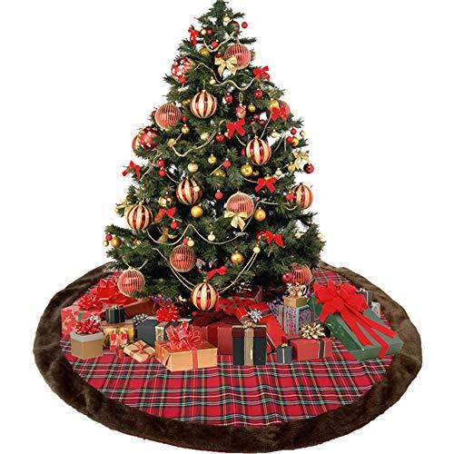 Weihnachtsbaum-Rock,Jute Buffalo Plaid Weihnachtsbaum Rock,42 Zoll Große Plaid Mit Kunstpelz Rand Rock, Rustikale Normale Weihnachtsbaum-Feiertags-Dekorationen Irt