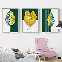 キャンバス絵画抽象金植物の葉ポスターモダンスタイル北欧の壁アートプリントリビング家の装飾部屋の装飾(30x50cm)3pcsフレームレス