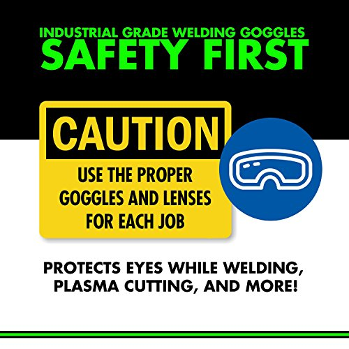 Welding Goggles (CONVENIENT FLIP-UP STYLE) Industrial Grade Brazing Glasses - Dark & Clear Safety Lenses - Perfect for Oxy-Acetylene Cutting, Welding, and Brazing Projects