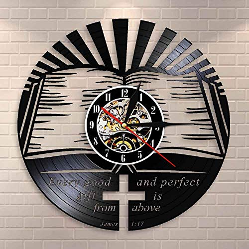 wtnhz LED-Cada Regalo Bueno Libro de Santiago proviene de la Biblia Reloj de Pared de la Biblia Versículo de la Biblia Reloj de Vinilo Cristiano