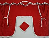 Juego de 5piezas de cortinas rojas con borlas de color blanco. Tamaño universal para todos los modelos de camión, accesorios, decoración, tejido de felpa