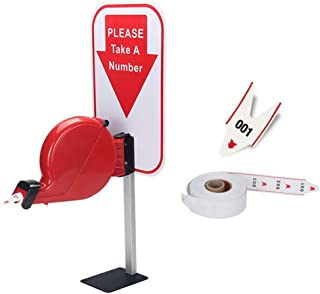 Take-A-Number System Ticket Dispenser with Counter Stand and 1 Roll Queue Tape Paper 3 Digits 2000 Tickets for Queue Call System