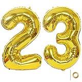 Huture 2 Luftballons Zahl 23 Figuren Aufblasbar Helium Folienballon Große Folienmylar Ballons Riesen Gold Ballons 40 Zoll Luftballons Zahl für Geburtstag Party Dekoration Abschlussball XXL 100cm