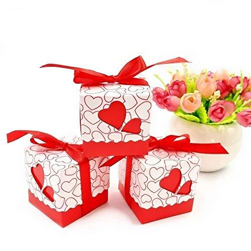 JZK 50 x Caja para caramelos regalo bombones recuerdos bautizos bodas con cinta para boda cumpleaños fiesta bienvenida bebé sagrada comunión detalle, rojo Corazón