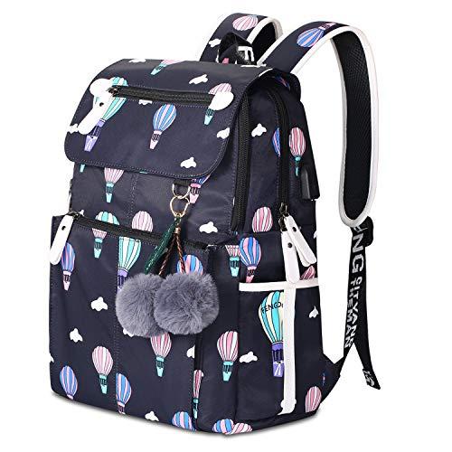 Rucksack Schule Mädchen Lightweight Damen Schulrucksack Fashion Floral Backpack for Teenager Girls mit USB Charging Port (1-Schwarz)