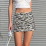 Falda Corta Sexy Mini Falda Mujer Streetwear Animal Zebra Print Falda de Cintura Alta Fiesta Estética Vintage S Negro