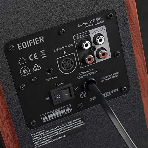 Edifier【アップグレード】R1700BTsアクティブスピーカー2.0-最新のBluetoothv5.0ブックシェルフスピーカーワイヤレスニアフィールドスタジオモニタースピーカー木製-66wRMS(サブウーファーライン出力付き)