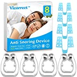 Vicorrect Upgraded Anti Snoring Devices, 4 Magnetic Nose Clips with 4 Nasal Dilators, Snore Stopper Silicone Anti Snore Clipple, Comfortable & Professional, 2020 Latest, 2 Choices for Deep Sleep