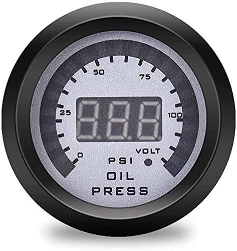 Tacómetro INDICADOR Ventas de fábrica 52mm Automóvil Medidor de presión de aceite Pantalla digital 0~10×100KPA 12 Volt Coche GAUGE Universal PODS Tacómetros de repuesto for automóviles (Color:ACEITE P