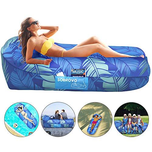 Sofá Inflable, sofá de Aire Exterior Lazy Carry Saco de Dormir portátil a Prueba de Agua Cama Ultraligera con Flotador de Piscina para Acampar, Senderismo, Piscina