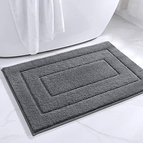 "DEXI Bathroom Rug Mat, Extra Soft Absorbent Premium Bath Rug, Non-Slip Comfortable Bath Mat, Carpet for Tub, Shower, Bath Room, Machine Wash Dry, 16""x24"", Grey"