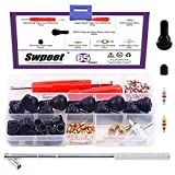Swpeet 65Pcs Tire Valve Stem Tool Remover & Installation Set, Valve Caps Snap-in Valve Stems with Valve Stem Cores, Single and Dual Head Tire Valve Core Remover Tool, 4-Way Valve Tool for Most Cars