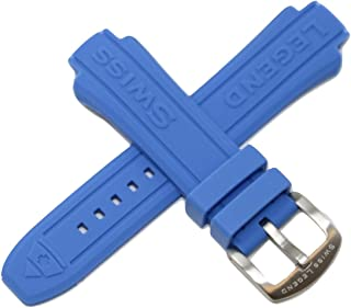 Swiss Legend 16MM Blue Silicone Rubber Watch Strap & Silver Stainless Buckle fits 40mm Neptune Watch