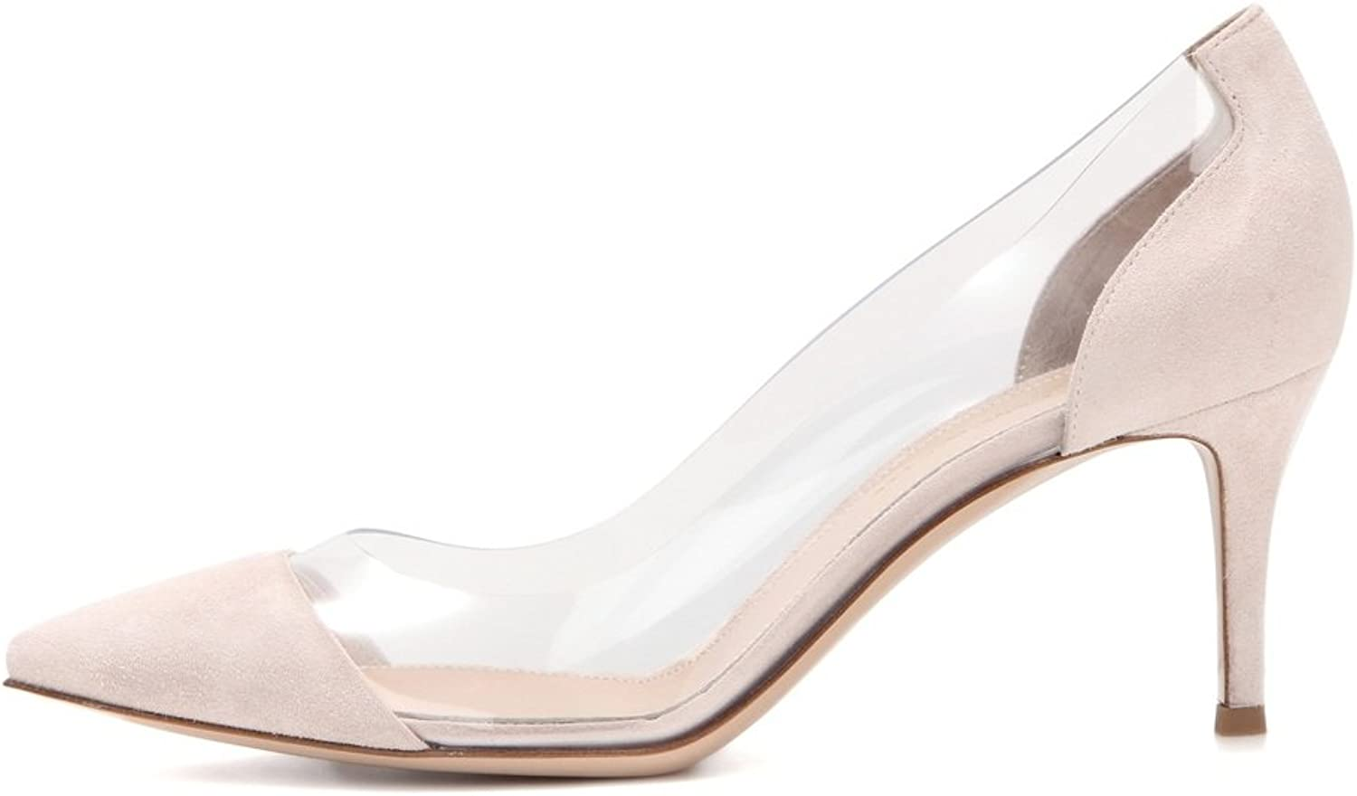 Eldof Womens High Heel PVC Pumps   8CM Pointed Cap Toe Transparent PVC Stilettos   Wedding Dress Event Pumps shoes