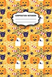 Composition Notebook: Halloween Lovers Pumpkin, Ghost and Spider Web Cute Lined Wide Ruled College Composition Notebook 150 Pages for Adult and Kindergarten Boys and Girls Ages 4-8 for Gift or Home.