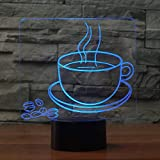 3D Illusion Lamps Coffee Cup Beans Model 3D Night Light 7/16 Color Change LED USB Table Lamp for Home Office Coffee Decor Friend Xmas Gift SXKJ