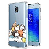 Case for Samsung Galaxy J7 2018, Galaxy J7 Refine, J7 V, J7 Star, J7 Aero, J7 Top, J7 Crown, J7 Aura for Girls Women Clear with Cat Design Shockproof Bumper Protective Slim Fit Cute Kitten Phone Cover