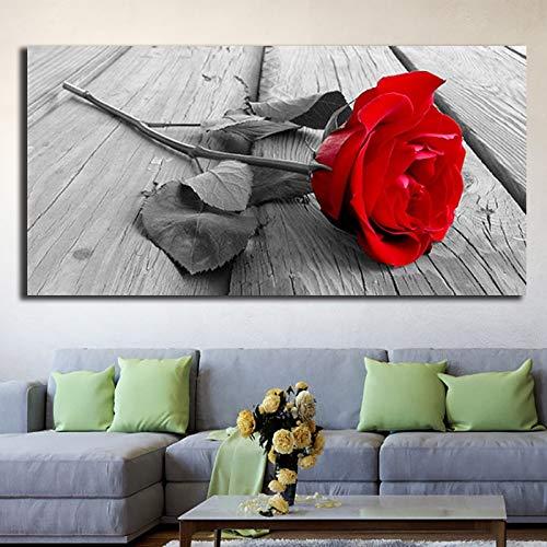 N / A Rahmenlose Malerei Rote Rose Blume Wandplakat Leinwand Moderne Kunst Geschenk Dekoration Wohnzimmer SchlafzimmerZGQ8858 30x60cm