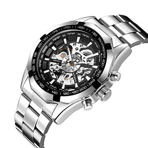 Relojes De Pulsera,Reloj Automático Esqueleto, Caja Plateada, Esfera Negra