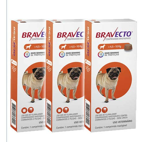 Bravecto Antipulgas E Carrapatos Para Cães De 4,5 A 10kg 3un