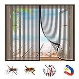 Mosquitera Ventana Magnetica, Protección Contra Insectos, Cortina de Malla Con Imanes, Cierra AutomáTicamente y es FáCil de Instalar, para Puertas y Ventanas-Black-a|| 45x80inch(115x205cm)