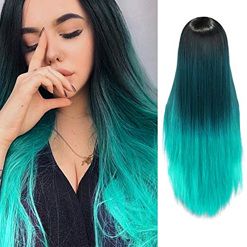 WIGNEE Ombre Straight Wigs Black To Green 26 Inches Long Straight Synthetic Wig For Women And Ladies Middle Party Cosplay Party Wig(Omber Green)