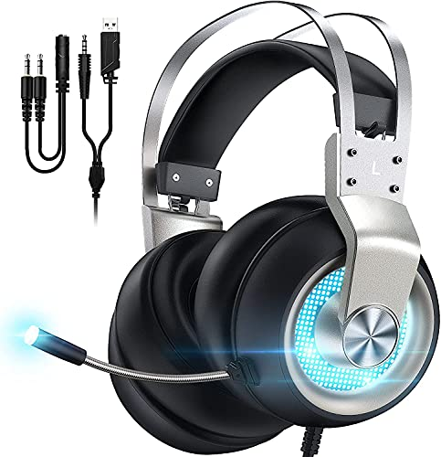 Gaming Headset for PS5 Xbox One PC Switch Mac PS4 Headset with Noise Cancelling Mic, 7.1 Suround Sound, Over Ear Gaming Headphones with 3.5mm Jack, White LED Light, Silver