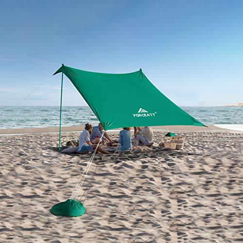 Forceatt Tienda de Playa con Sun Shelter,Tienda de Playa Pop up con Protección UV UPF50+ y 4 Piezas Postes de Aluminio, Refugio al Aire Libre para Tiempo en La Playa,Camping o Picnic Familiar(3Mx3M).