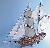 AKAMAS Decoraciones de la sala de estar Modelo de Barco Kit de Madera Modelos de Barco Kits Modelo Escala 1/55 Francia Clásico Modelo de Barco Kits Le Hussard 1848 Vela Barco Modelo de Madera Baibao