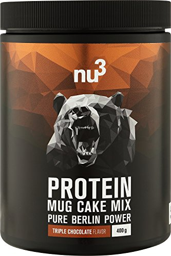 nu3 Protein Mug Cake Mix - 400 g Triple Chocolate Backmischung - 24 g Protein pro Portion - Schoko-Tassenkuchen - Fitness Food zum Naschen - Eiweiß ohne unnötige Zusätze - schnelle Zubereitung